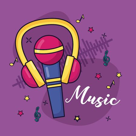 microphone and headphones music colorful background vector illustration