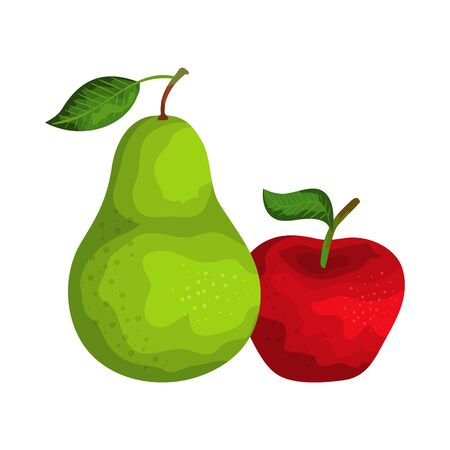 fresh pear and apple fruits nature vector illustration design Иллюстрация