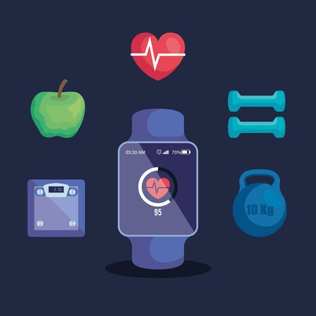 set of smartwatch with apple and heartbeat with dumbbells to fitness lifestyle, vector illustration