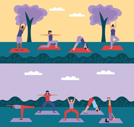 yoga park outdoor women doing exercises vector illustration