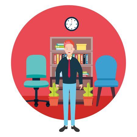businessman chair bookshelf clock plants office workspace vector illustration