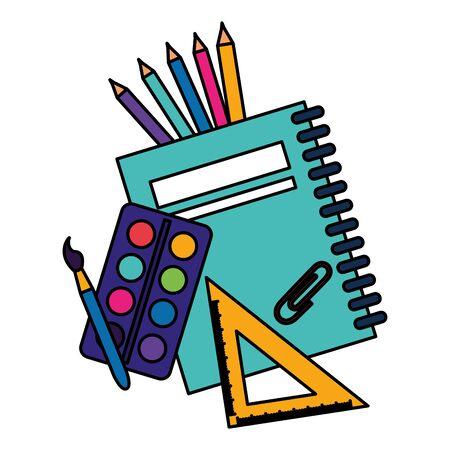 Notebook Dreieck Lineal Farbpalette Pinsel Clip zurück zur Schulvektorillustration