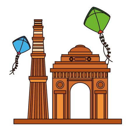 indian gateway with kites flying independence day icon vector illustration design Фото со стока - 130276099