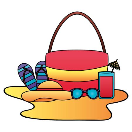 summer time holiday bag juice sunglasses flip flops hat vector illustration