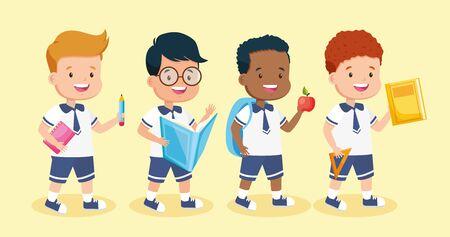 Gruppenjungen mit Buchapfelstift zurück zur Schulvektorillustration