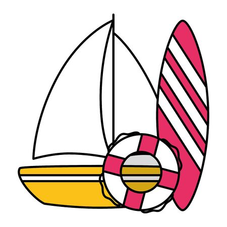 summer time holiday sailboat surfboard and lifebuoy vector illustration  イラスト・ベクター素材