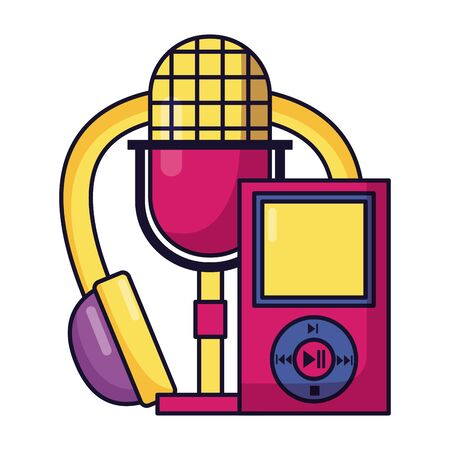headphones microphone mp3 instrument and equipment festival music vector illustration