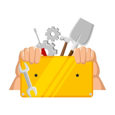 hands,lifting metal plate with construction tools vector illustration design
