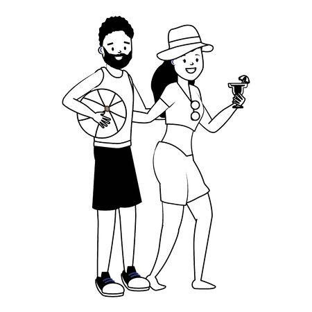happy couple with ball and cocktail summer time vector illustration Illusztráció