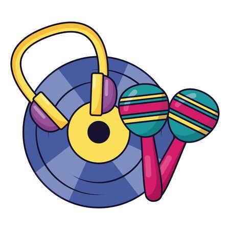 vinyl headphones maracas music colorful background vector illustration