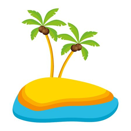 summer time holiday palms sand beach sea vector illustration