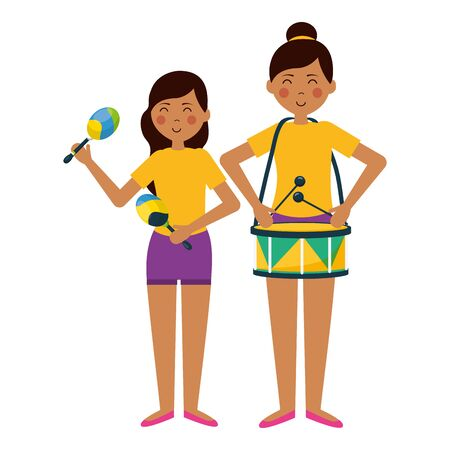 woman and girl drum maracas carnival celebration vector illustration Illustration
