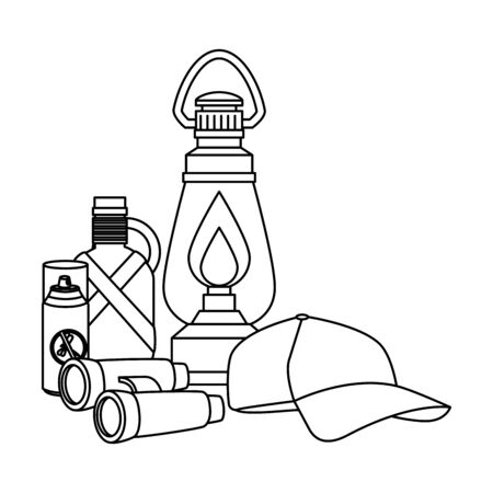 kerosene lantern with camping accessories vector illustration design Standard-Bild - 130280474