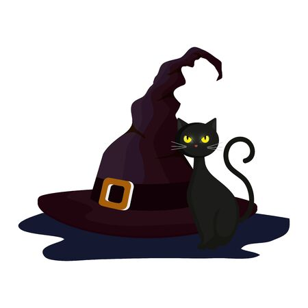 cat feline halloween with hat witch vector illustration design