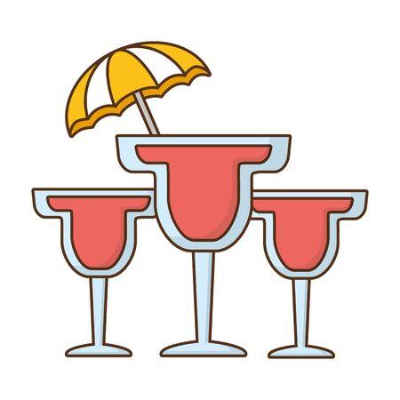 three cocktails drink umbrella beverage vector illustration