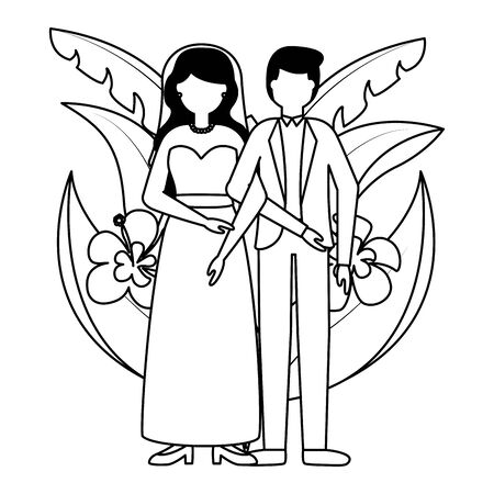 groom and bride flowers leaves wedding vector illustration Archivio Fotografico - 130280515