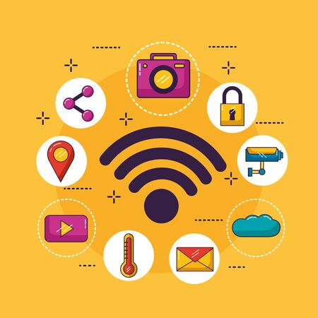 wifi free connection cloud storage surveillance security email vector illustration