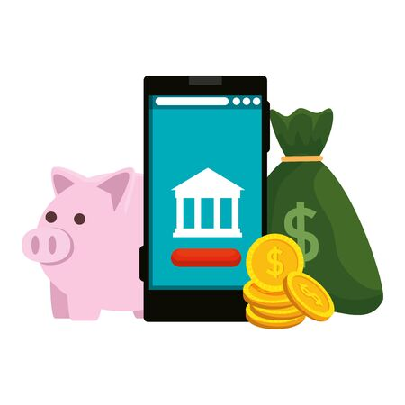 smartphone with bank building app and piggy  illustration design Stock Vector - 130310607