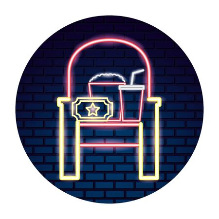 cinema neon set icons  illustration design
