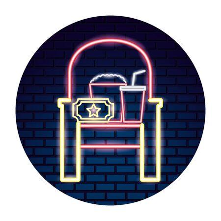 design dell'illustrazione delle icone stabilite al neon del cinema