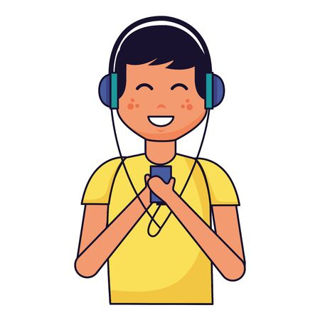 boy with headphones listening music vector illustration Illustration