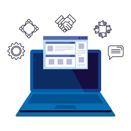laptop with webpage template and icons illustration design Vektoros illusztráció