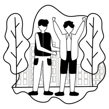 two men celebrating in the city park illustration, white and black