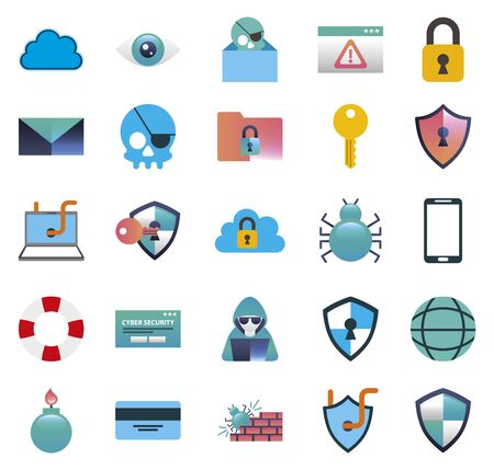 bundle of cybersecurity colorful icons illustration design