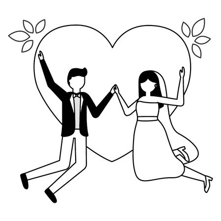 couples wedding bride and groom love heart vector illustration