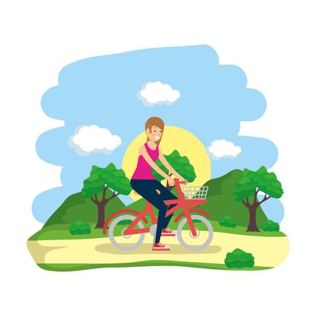 outdoor woman riding bike in the park illustration Illustration