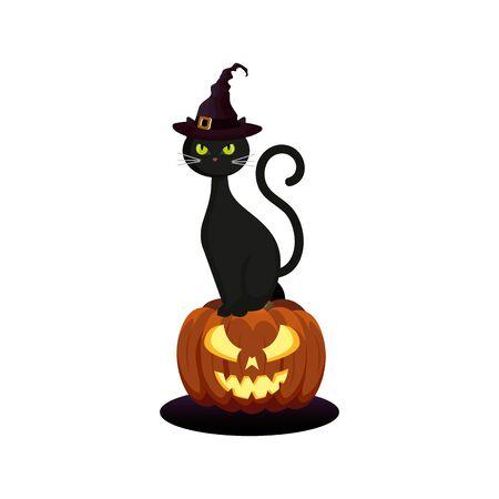 cat feline with hat of witch in pumpkin halloween  illustration design