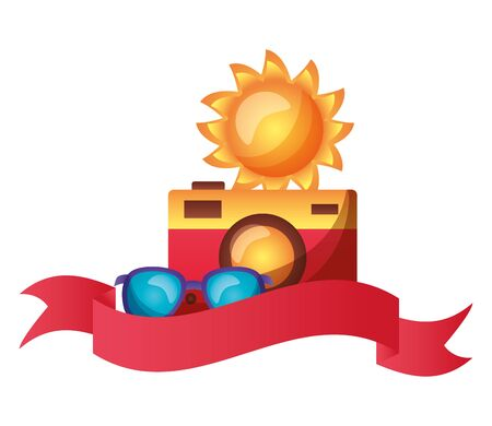 summertime holiday camera, sunglasses and sun  illustration