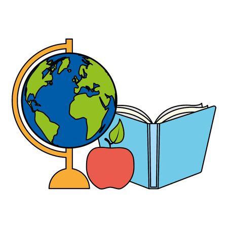 world map book apple back to school  illustration 일러스트
