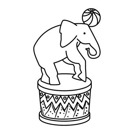 circus elephant playing with ball in stage illustration design Ilustração