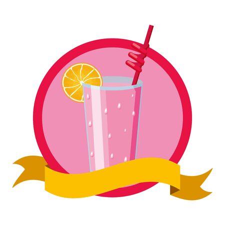 summertime poster cocktail with lemon illustration