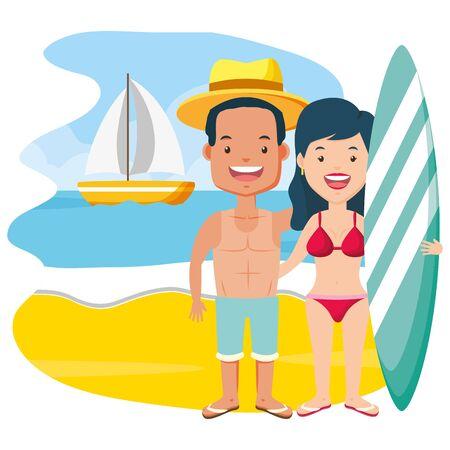 summertime couple with surfboard beach illustration Foto de archivo - 130313606