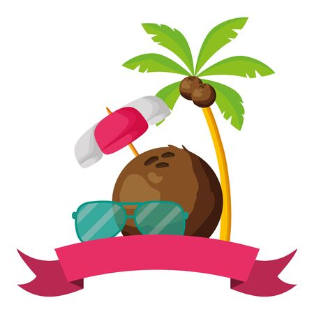 summertime holiday poster coconut palm sunglasses and umbrella ribbon illustration