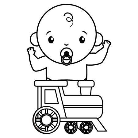cute little baby boy with train illustration design