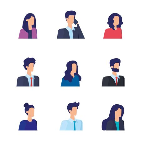 set of businesswomen and businessmen with elegant clothes over white background, vector illustration