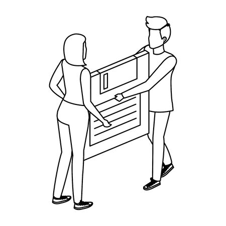 young couple lifting floppy disk data storage illustration design