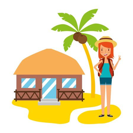 summertime holiday woman bungalow beach palm sand illustration