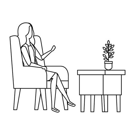 Woman sitting on the sofa  illustration design
