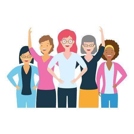 diversity women  on white background  illustration Illustration