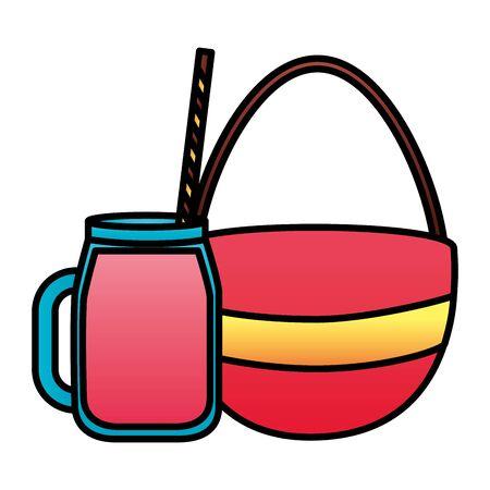 summertime holiday handbag fresh juice   illustration  イラスト・ベクター素材