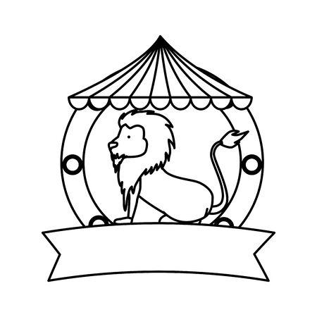 circus lion  in tent  illustration design  イラスト・ベクター素材