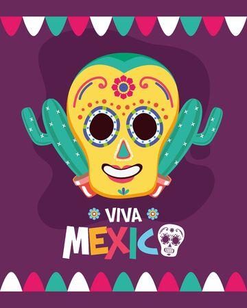 sugar skull cactus decoration celebration viva mexico illustration