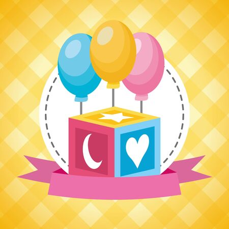 cube balloons decoration baby shower card illustration
