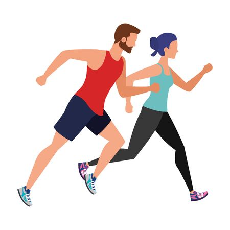 young athletic couple running illustration design Illustration