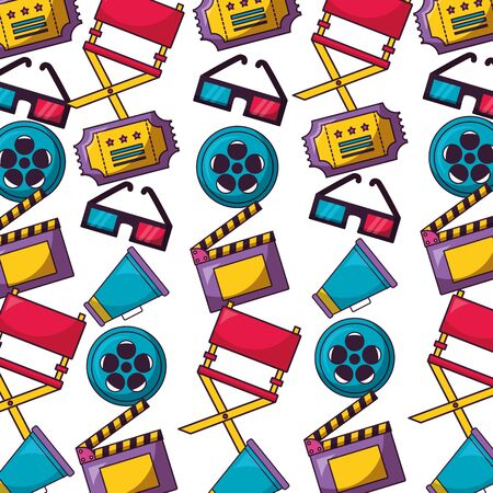 background reel film chair speaker glasses ticket cinema movie illustration