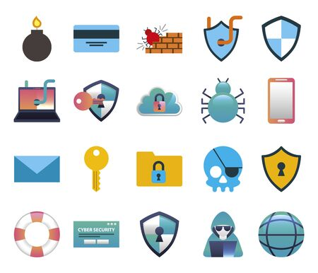 bundle of cybersecurity colorful set icons illustration design
